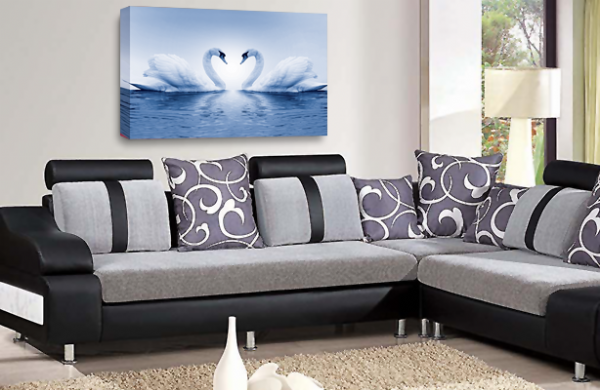 Love Heart Wall Art Picture Kissing Swans Blue White Print